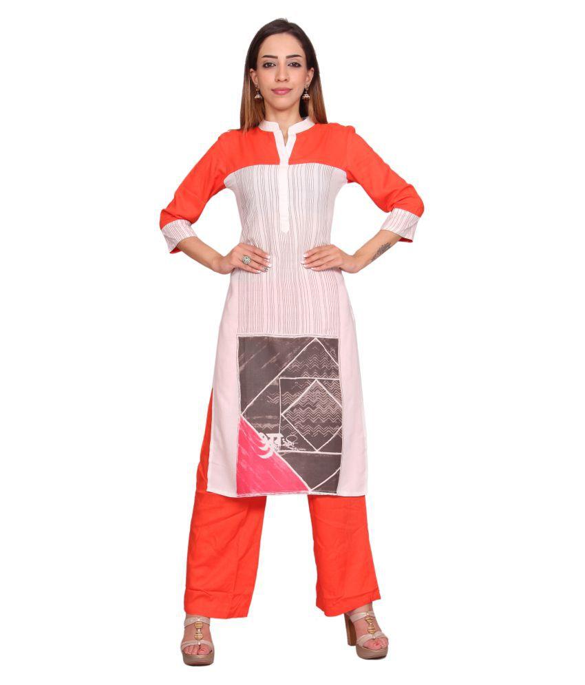 Rama Multicoloured Rayon Straight Kurti