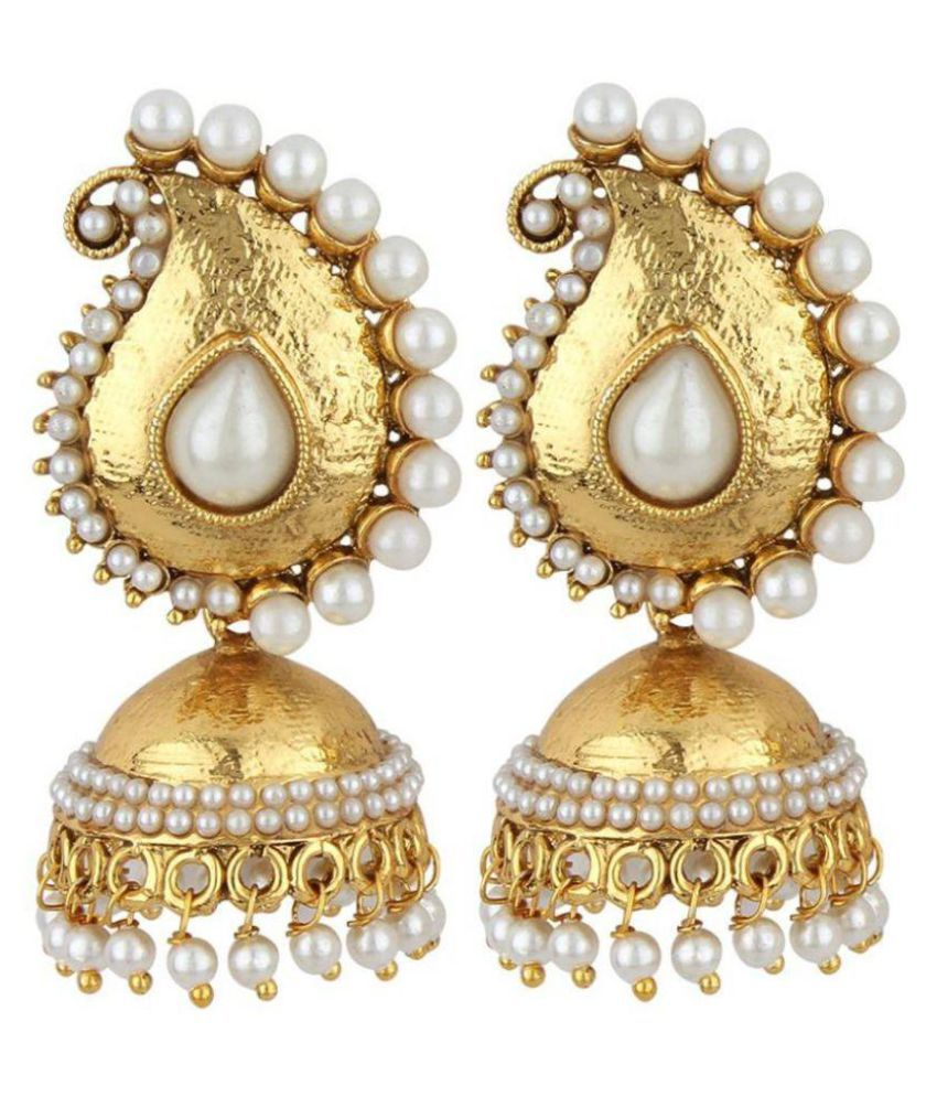 Jewels Gehna Golden Jhumki Earrings