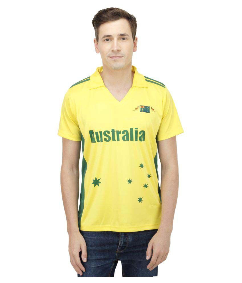 T10 Sports Yellow Cotton Lycra Polo T-Shirt