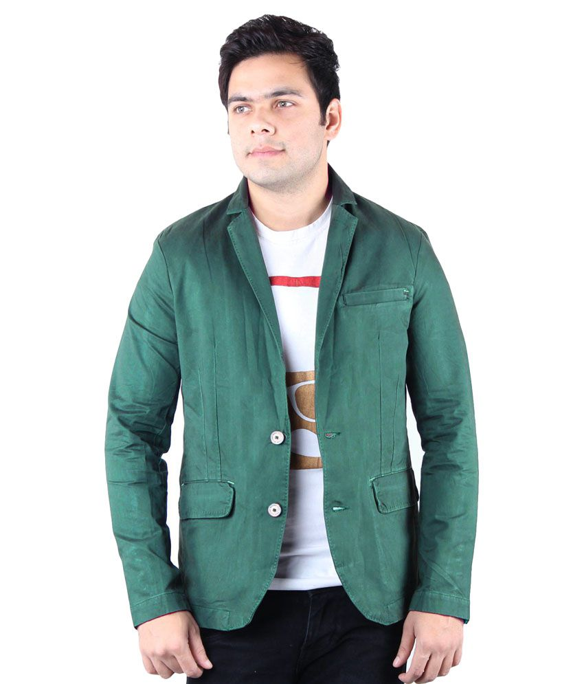 Kotty Green Solid Casual Blazers