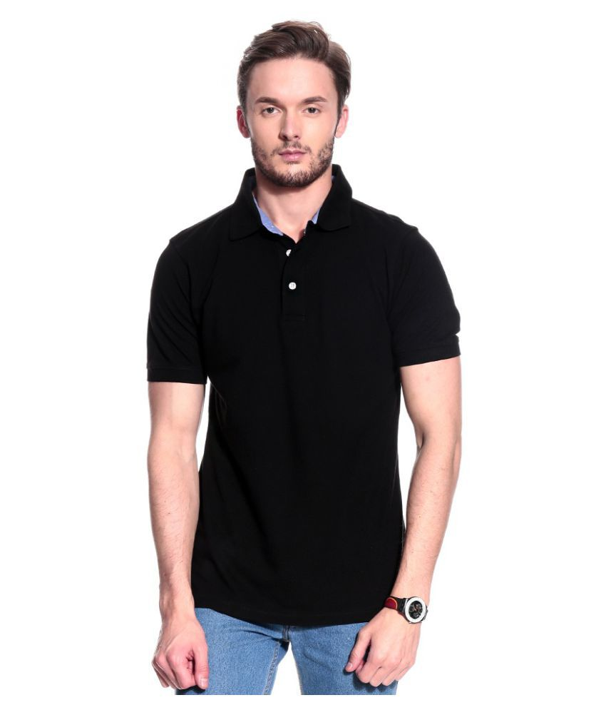 T10 Sports Black Cotton Lycra Polo T-Shirt