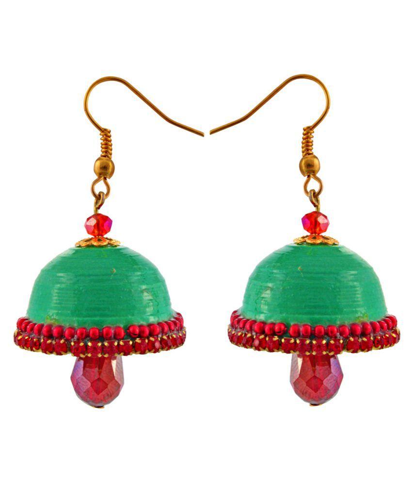 Carat Sutra Beads Studded Green Jhumki