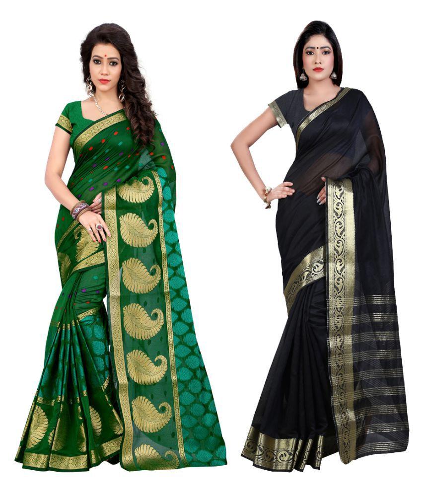 Ganga Shree Multicoloured cotton Saree Combos