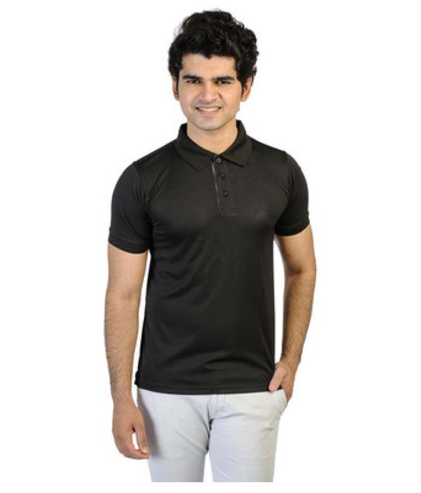 T10 Sports Black Cotton Lycra Polo T-Shirt