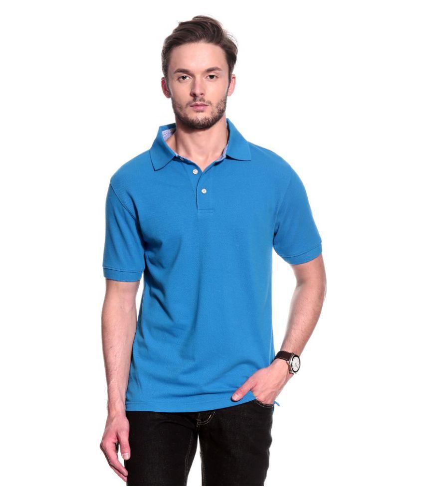 T10 Sports Sky Blue Cotton Lycra Polo T-Shirt