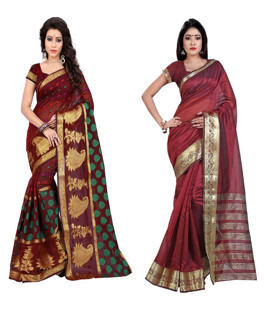 Ganga Shree Maroon Cotton Saree Combos