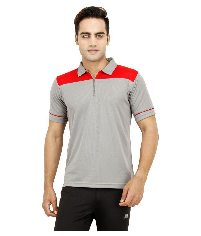 T10 Sports Grey Cotton Lycra Polo T-Shirt