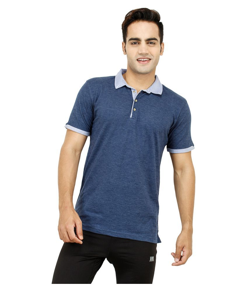 T10 Sports Blue Cotton Lycra Polo T-Shirt