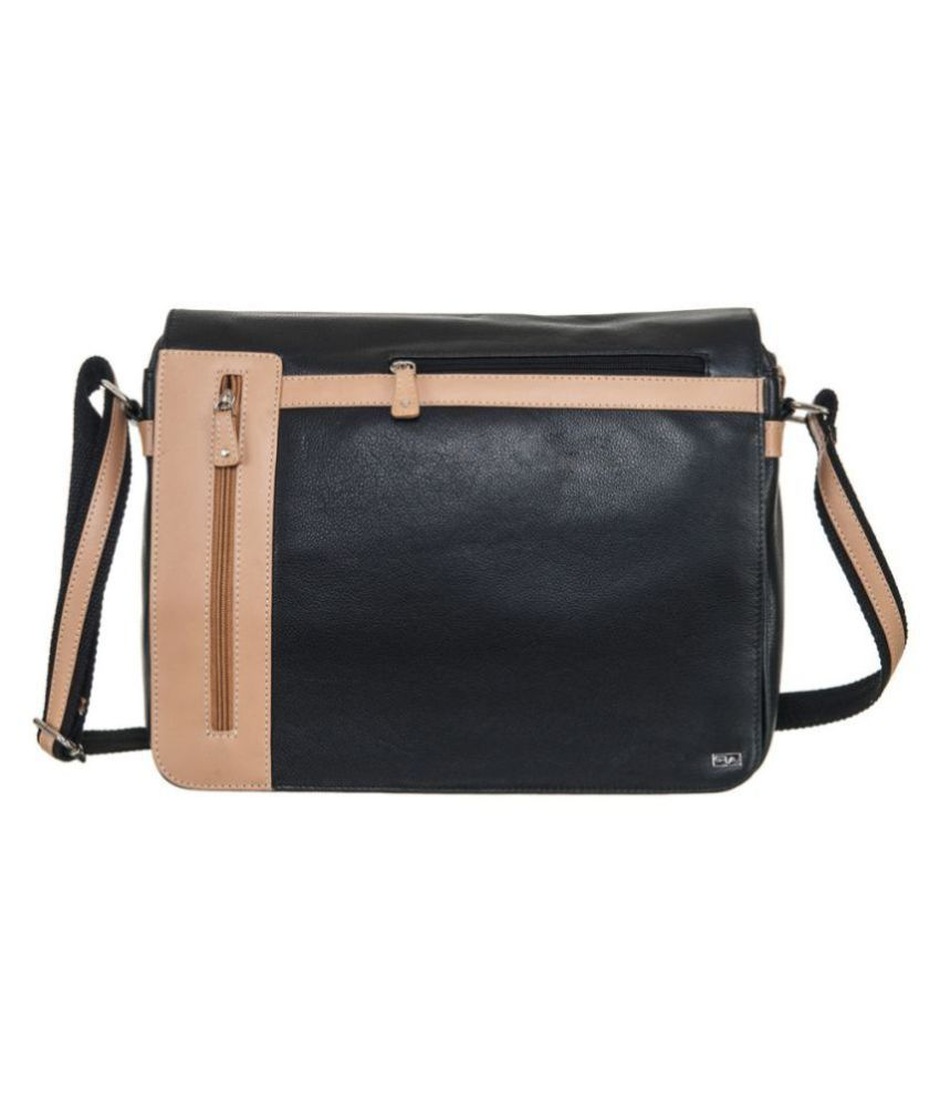 Goodwill Leather Art Black Leather Office Bag