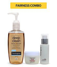 Neutrogena Fairness Combo - Deep Clean Facial Cleanser 200ml + Fine Fairness Day Cream SPF20 50g + Fine Fairness Brightening Serum 30ml