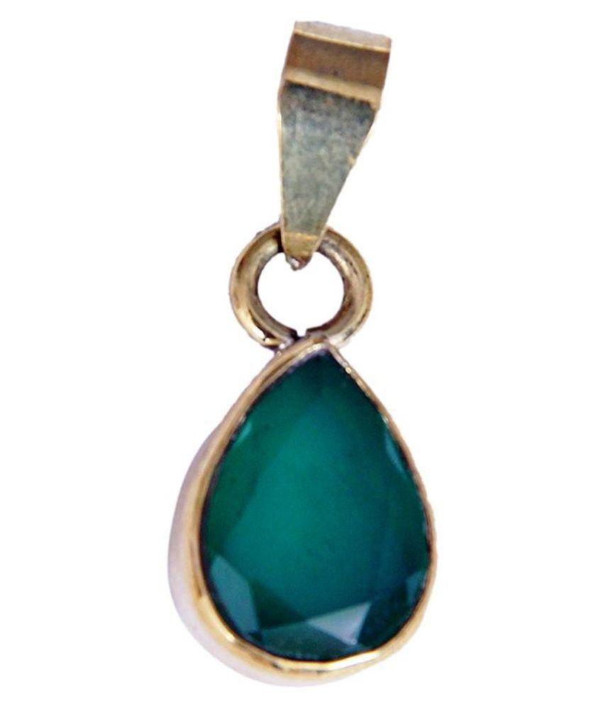 Malabar Gems 7 Carat Heart Shape Green Onyx Pendant in Panchdhatu