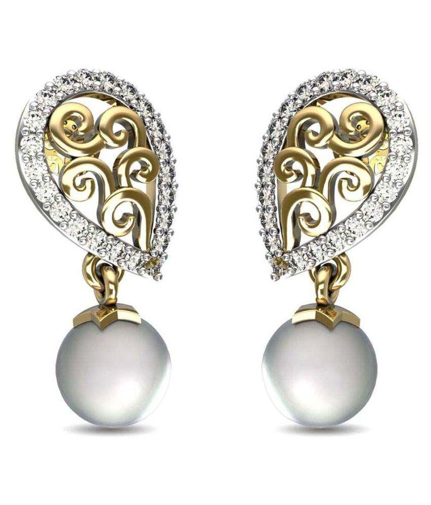 Gold24 14k Yellow Gold Diamond Drop Earrings