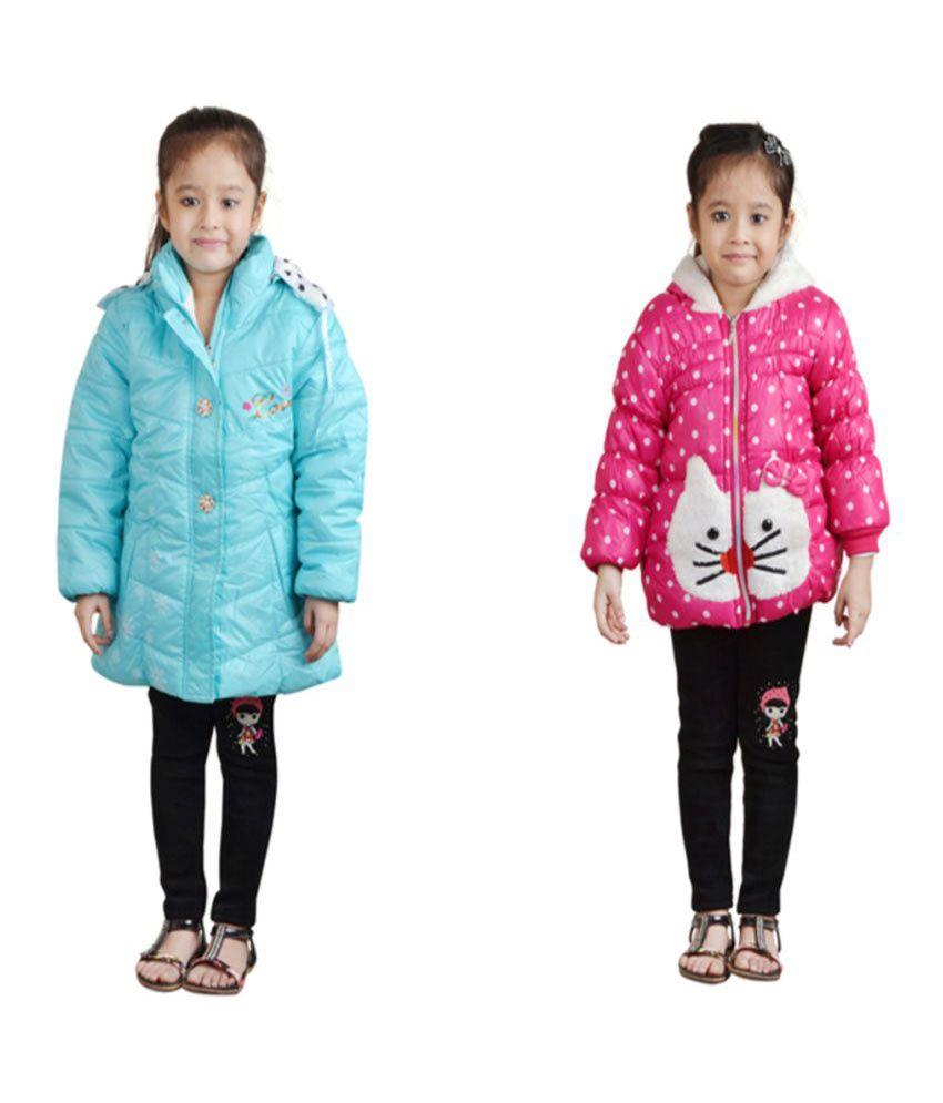 Crazeis Multi Full Sleeves Combo of 2 Nylon Jackets For Girls