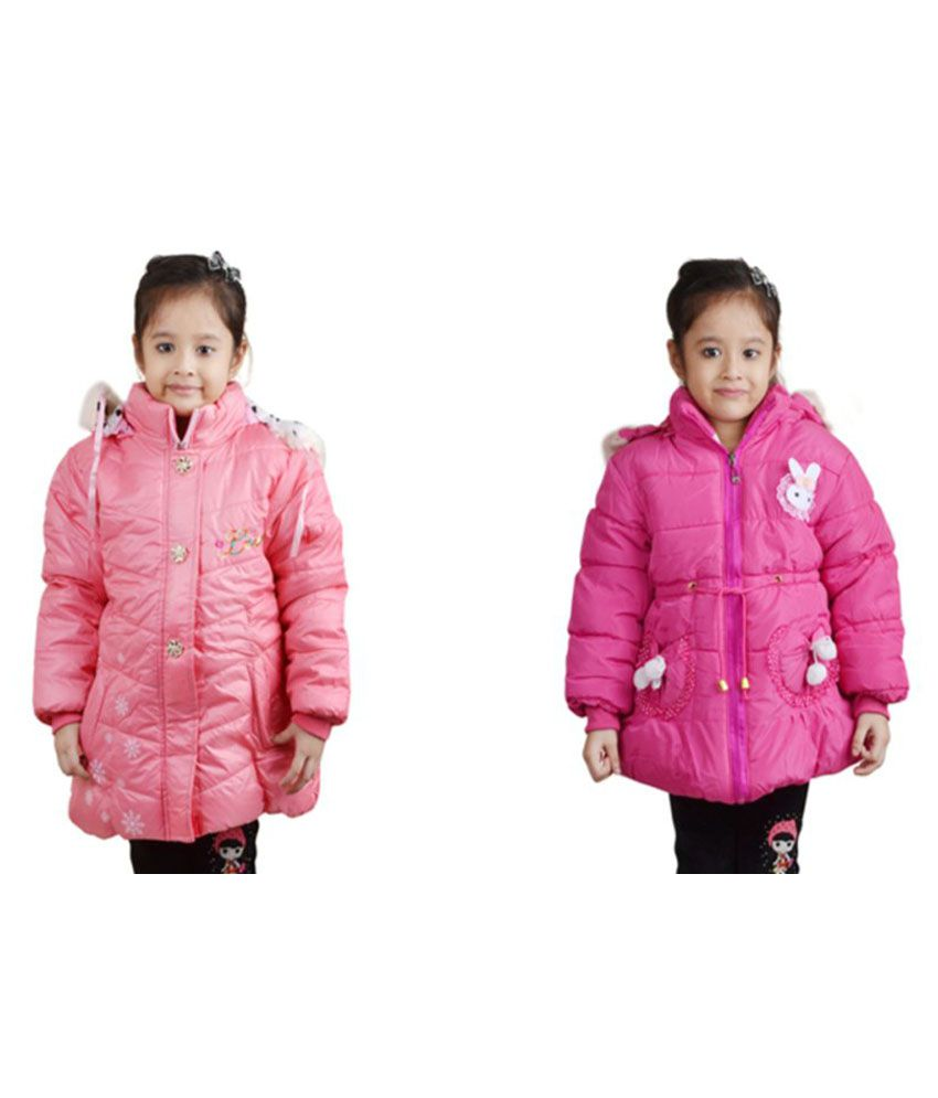 Crazeis Pink Girl's Nylon Jacket - Pack of 2