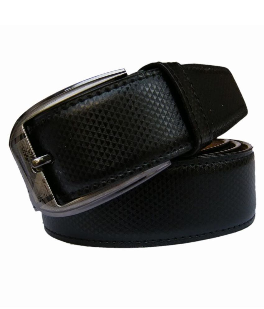 Fomti Black Faux Leather Formal Belts