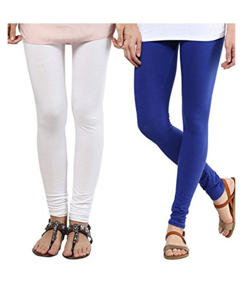 BuyNewTrend White Royal Blue Winter Legging (Pack of 2)