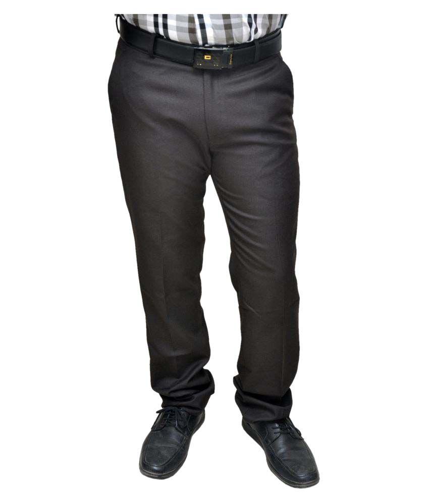 Novowels Dark Brown Slim Pleated Trousers