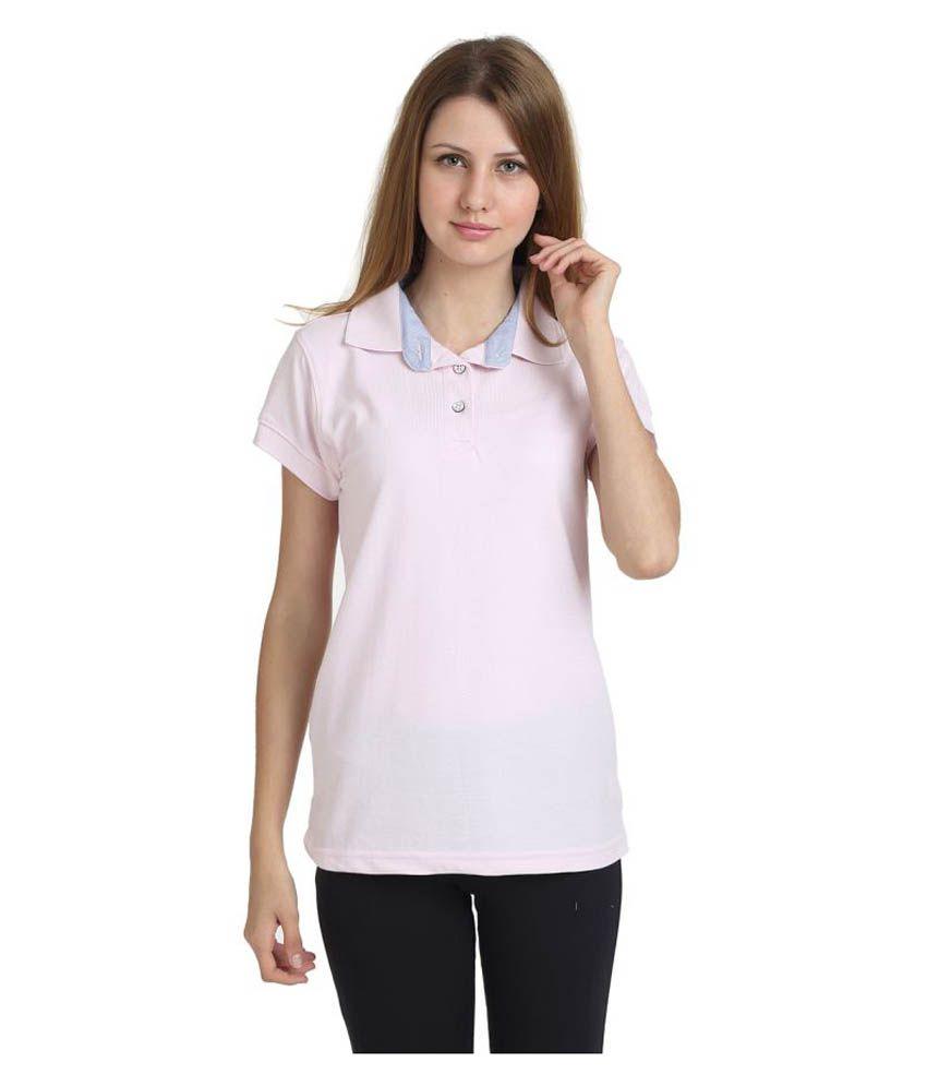 T10 Sports Pink Cotton Lycra Polo T-Shirt