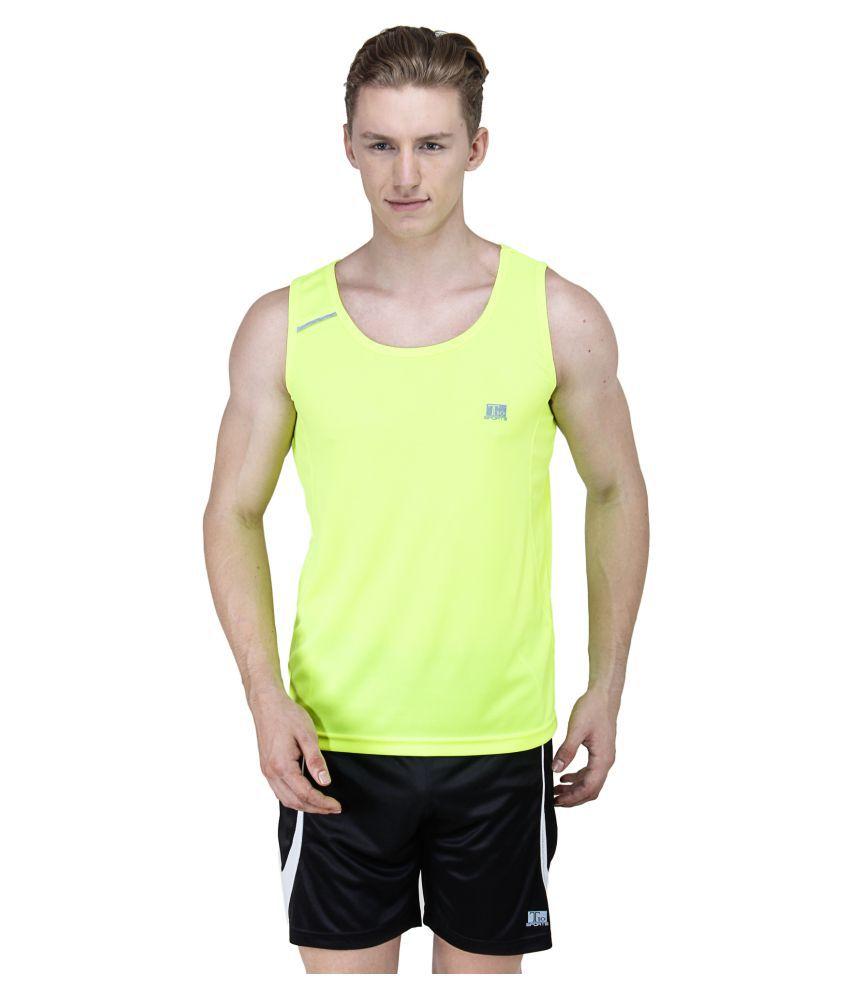T10 Sports Yellow Cotton Lycra T-Shirt