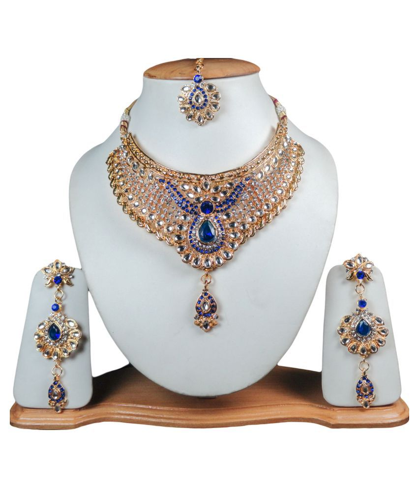 Zam InnoCrafts Multicolour Necklace Set With Maang-Tika