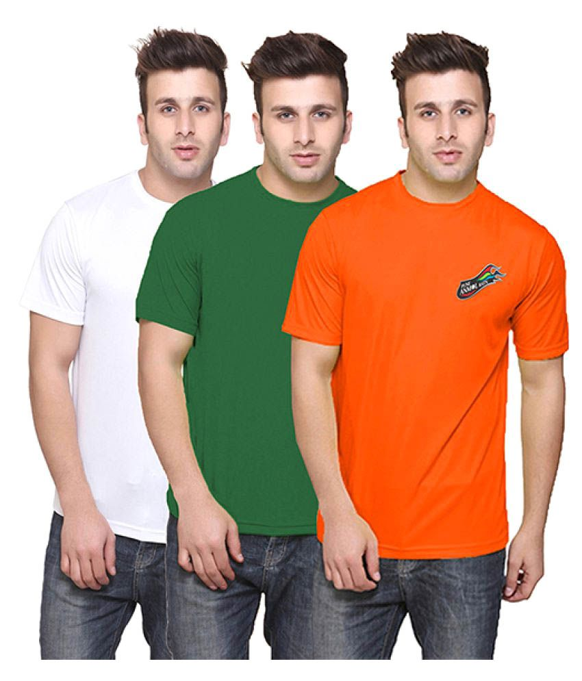 T10 Sports Multi Cotton Lycra T-Shirt Pack of 3
