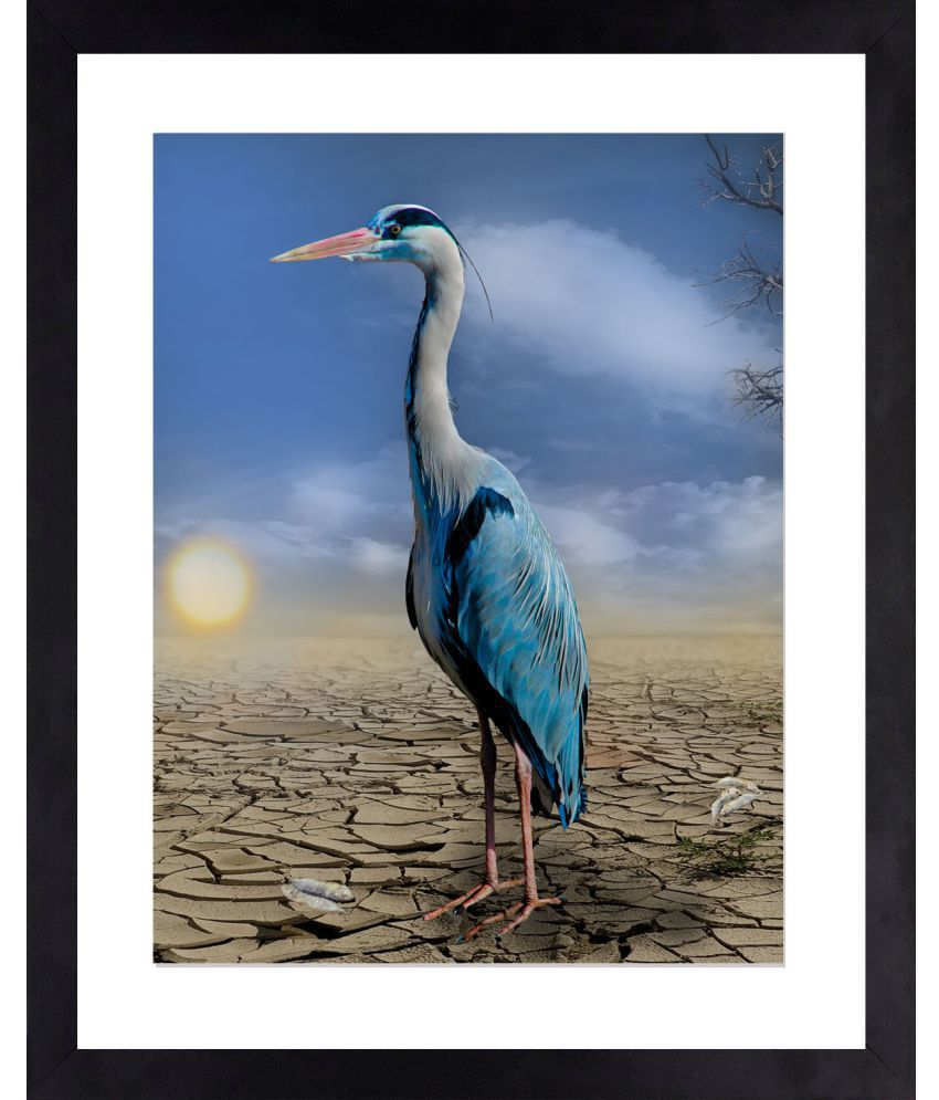 Craftsfest Heron Bird Canvas Painting With Frame Single Piece