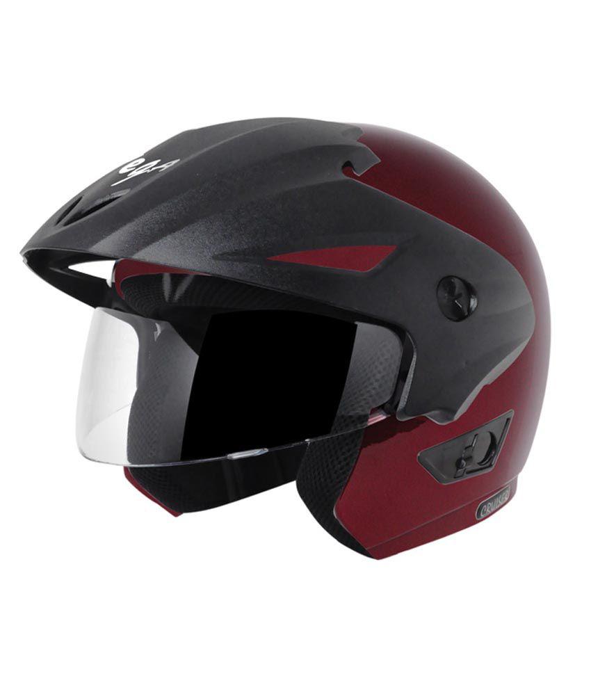 Vega Helmet - Cruiser With Peak (Burgundy)