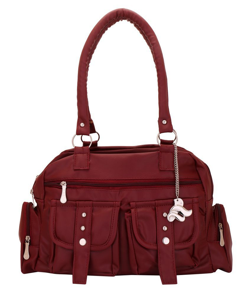 Lady Bar Maroon Artificial Leather Shoulder Bag