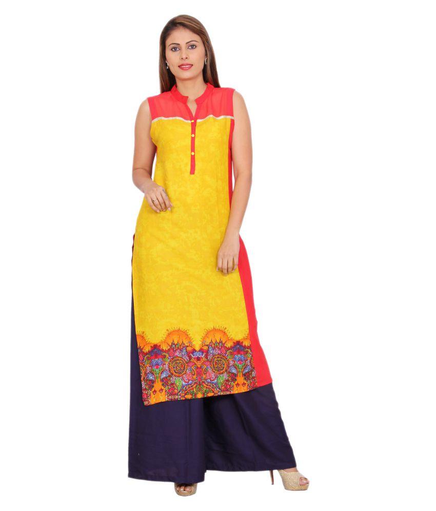 Rama Yellow Rayon Straight Kurti