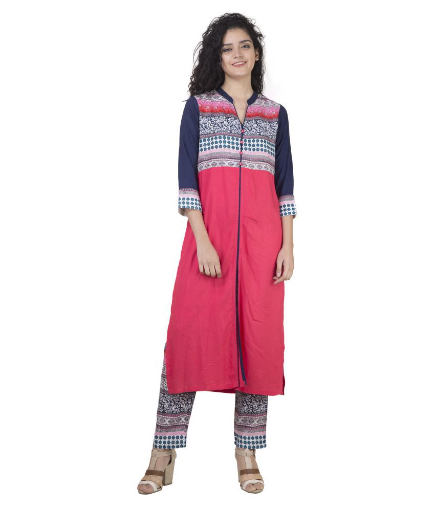 Misi Pink Rayon Straight Stitched Suit