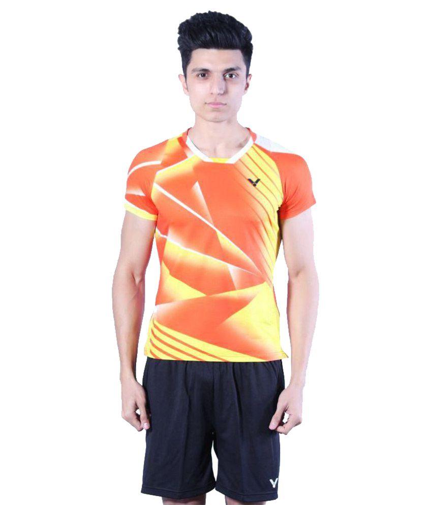 Victor Orange Polyester T-Shirt