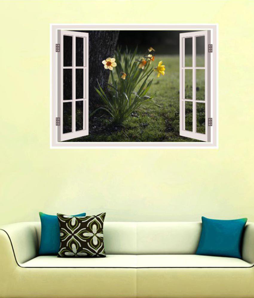 Impression Wall Daffodils Night Window Illusion Vinyl Multicolour ...