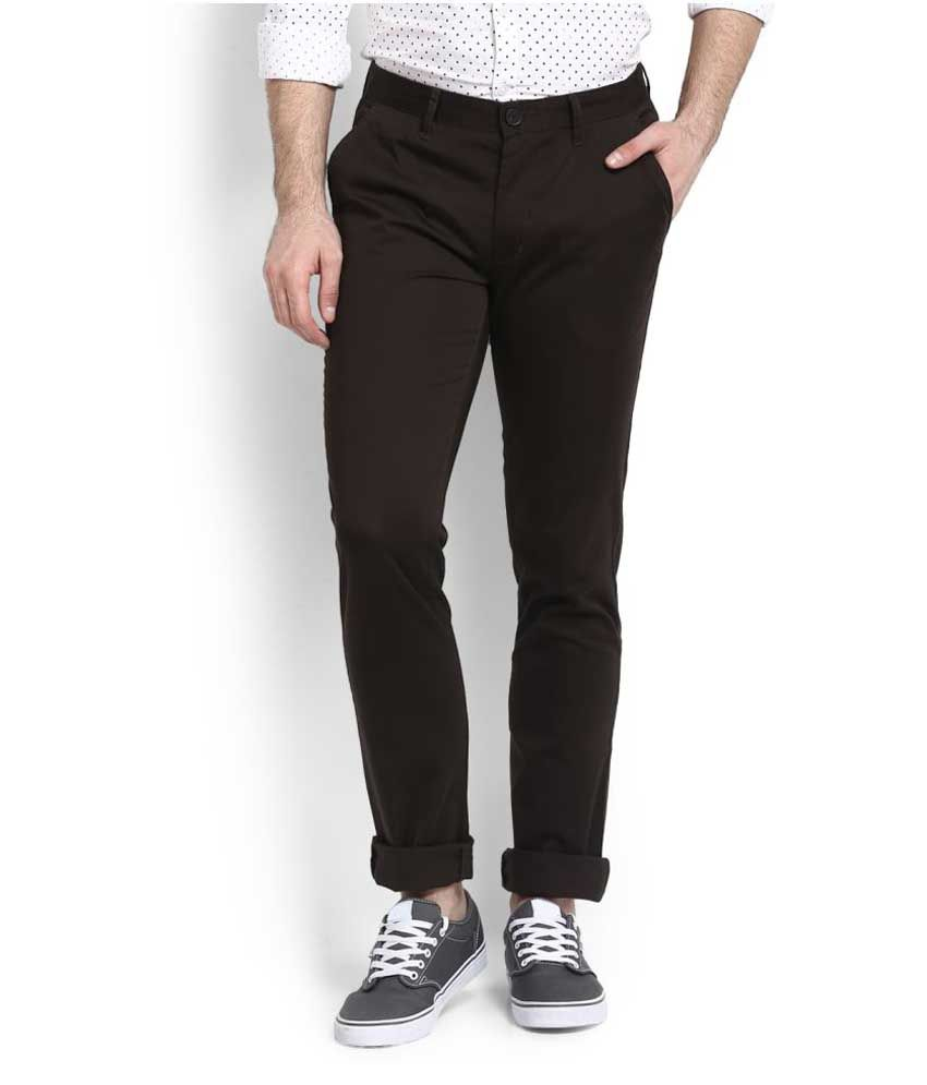 John Players Brown Slim Flat Chinos