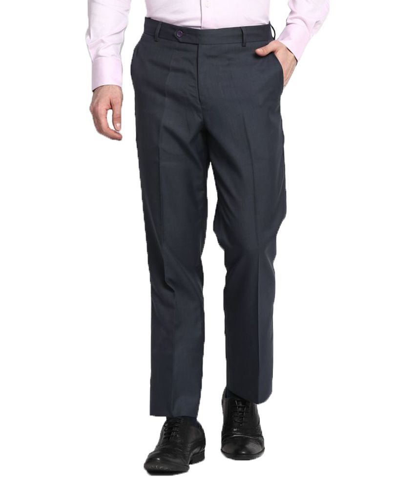 John Players Grey Regular Flat Trousers