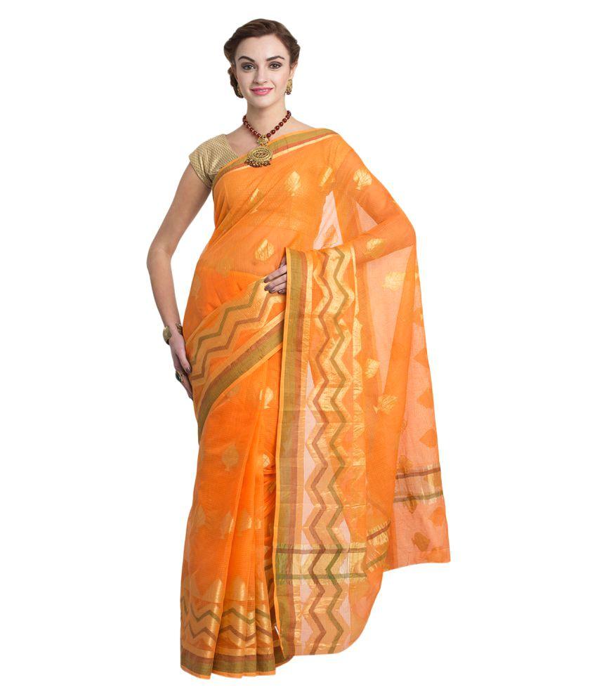 Craftghar Orange Cotton Saree