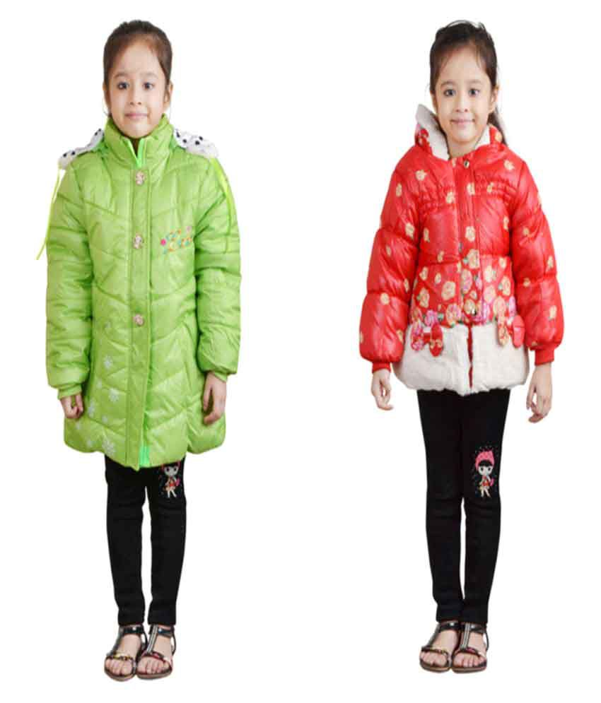 Crazeis Multicolour Nylon Jackets For Girls Pack of 2