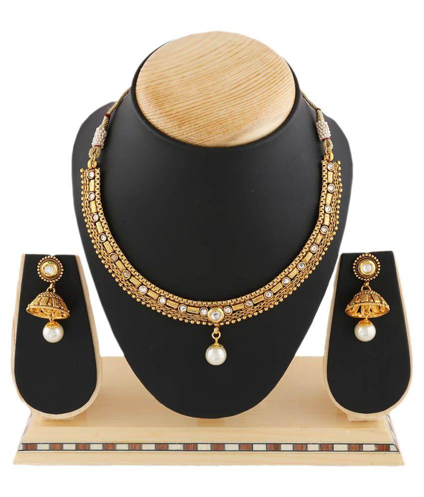 Anuradha Art Golden Necklaces Set