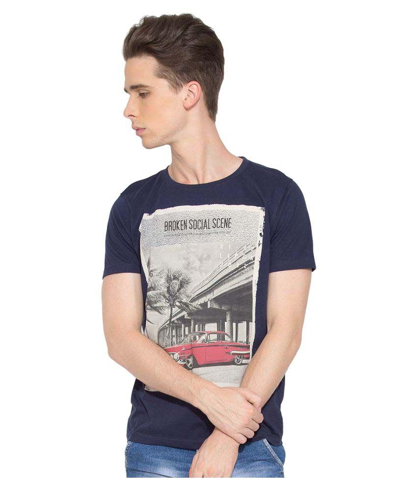 Go India Store Blue Round T-Shirt