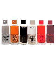 Fashion Bar Nail Polish Glitter,Gold,Black,B.Cot,Orange, Matte 30 Ml Pack Of 6