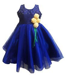 MVD Fashion Navy Party Dress For Girls With Hair Clip