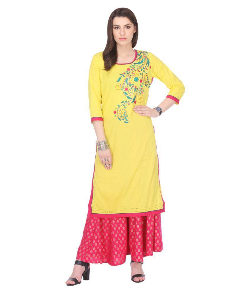 An Ethnic Affair Yellow Cotton Straight Kurti