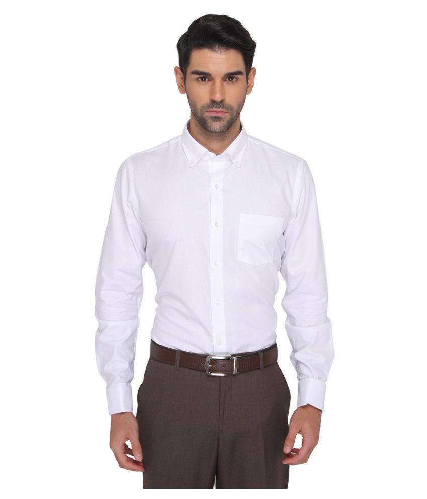 Metal White Partywear Regular Fit Shirt