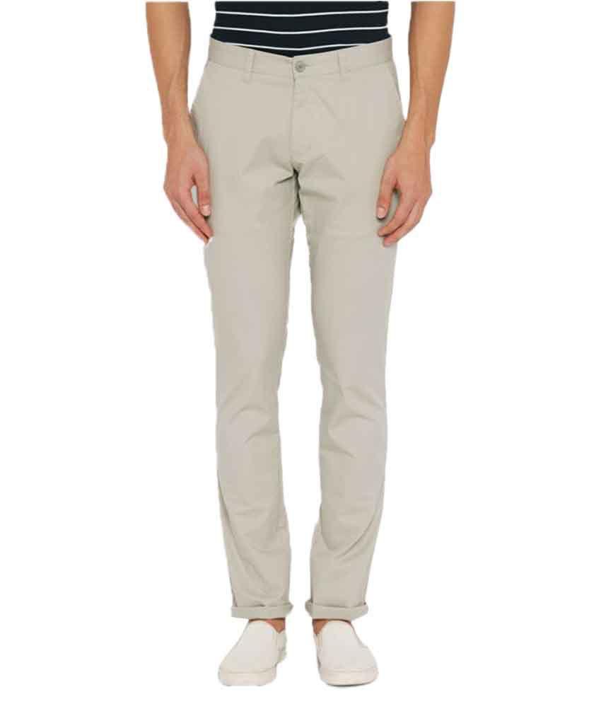 Parx Grey Regular Flat Trousers