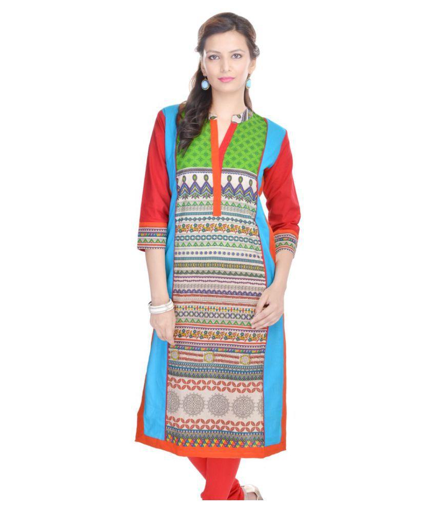 Maya Creation Multicoloured Cotton Straight Kurti