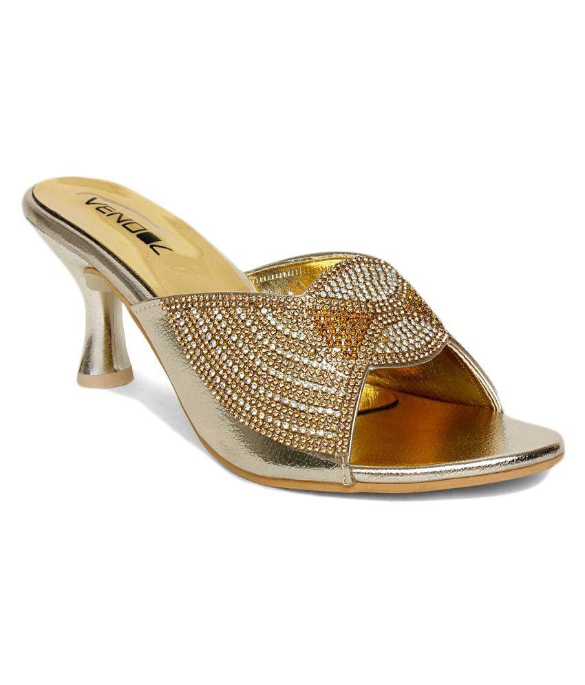 Vendoz Gold Kitten Heels