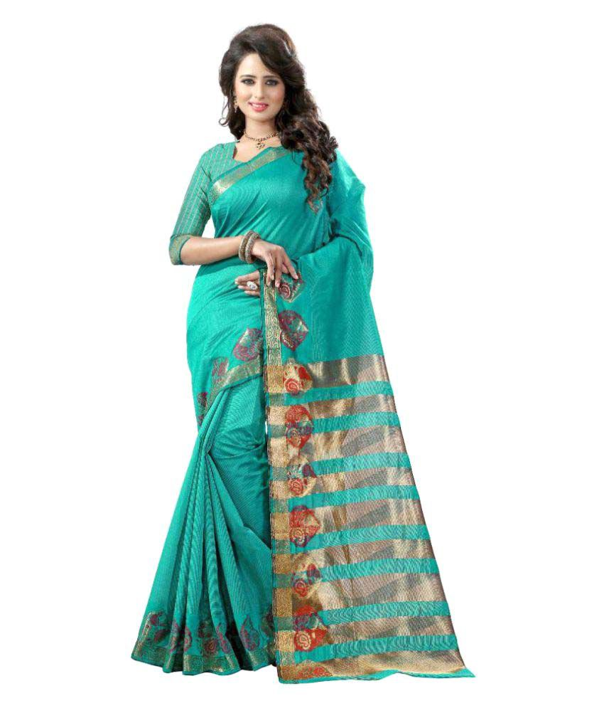Fabdiwa Fashion Turquoise Cotton Saree