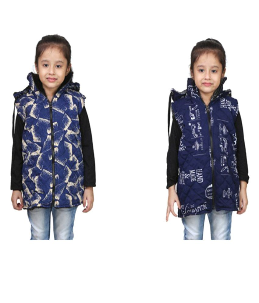 Crazeis Blue Jacket for Girls - Pack of 2