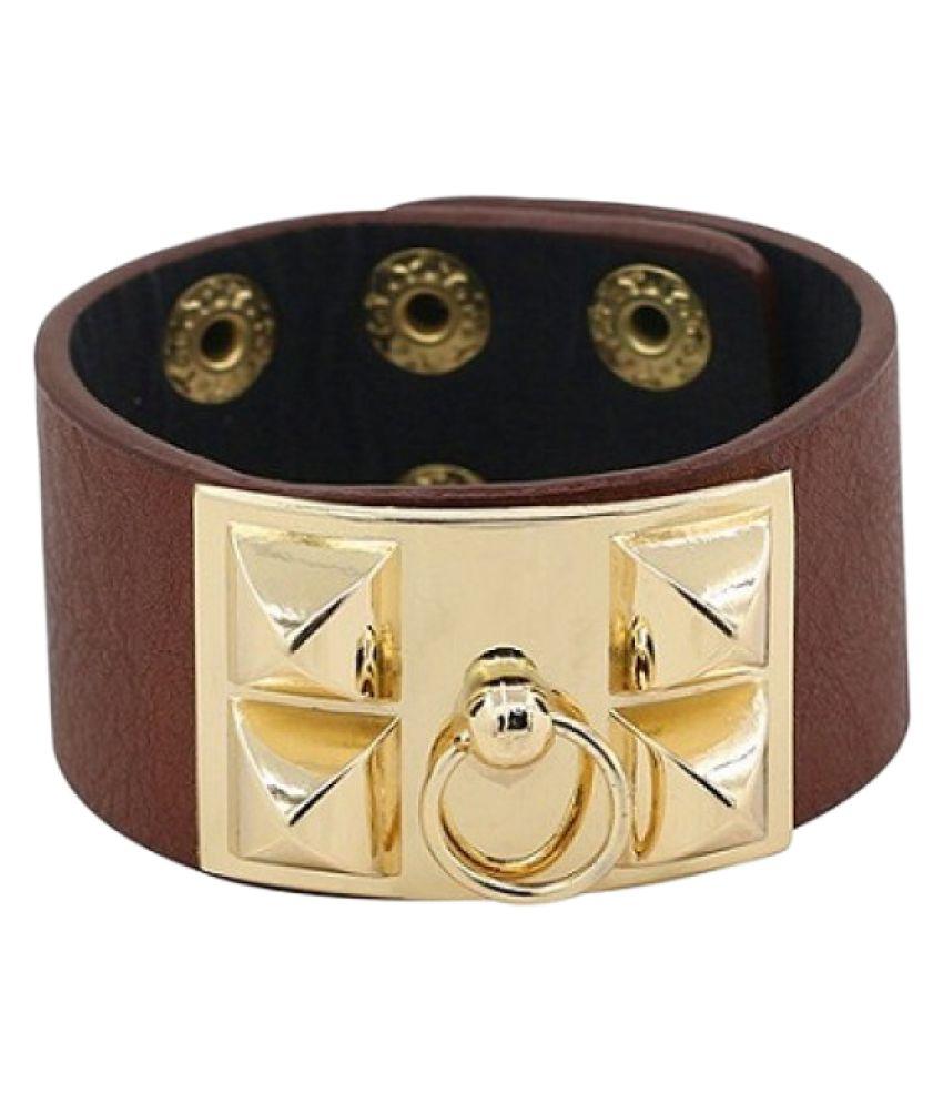 Turqueesa Rivet Faux Leather Brown Bracelet