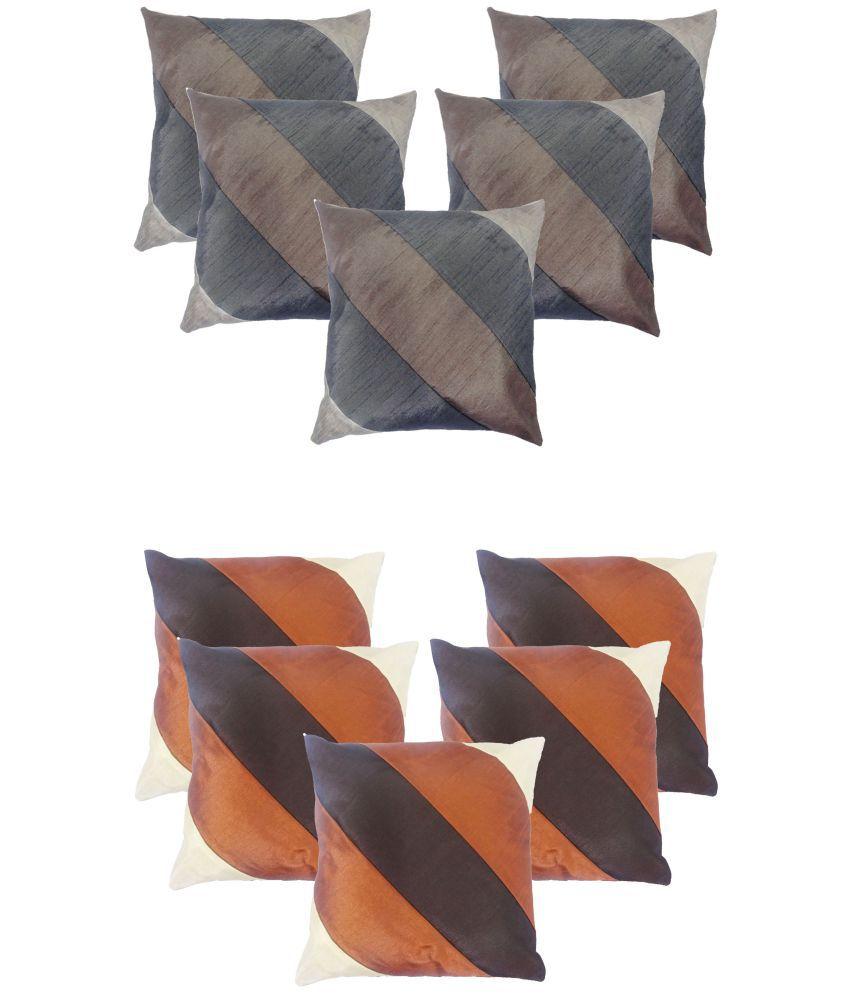 Jaipuri Set of 10 Silk Cushion Covers 40X40 cm (16X16)