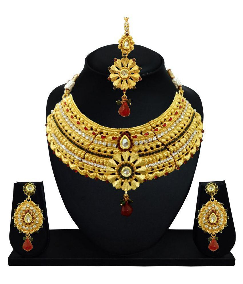 Arts Chetan Golden Alloy Necklace Set With Maang Tika